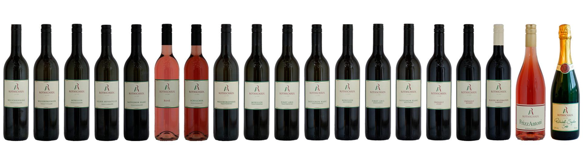 Weinsortiment Weingut Rothschädl - ausgezeichnete Weine aus Österreich - Qualitätswein - Lagenwein - Sekt - Frizzante