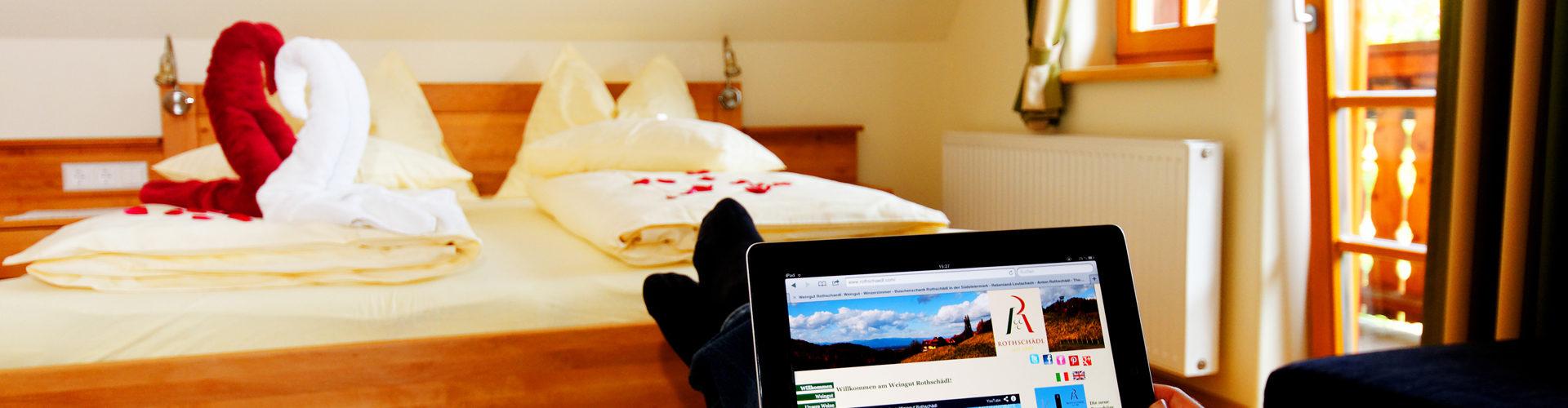Gratis W-Lan Internet in den wunderschönen und hochwertigen Winzerzimmern.