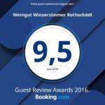 9,5 von 10 Punkten bei den Bewertungen für Weingut Winzerzimmer Rothschädl